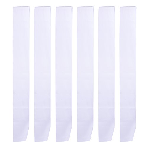 BBTO 6 Pieces Blank Satin Sash Plain Sashes for DIY, Wedding, Hen Party, Beauty Pageant, White -