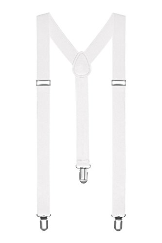 Boolavard Braces/Suspenders One Size Fully Adjustable Y Shaped with Strong Clips (White)