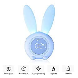 Kids Alarm Clock,Night Light for Kids, 5 Ringtones,Touch Control and Digital Thermometer,Sleep Timer with 2000mAh Rechargeable Clocks for kids room