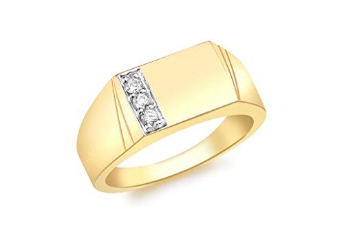 Jewellery World Bague en or jaune 9carats serti de bague Chevalière rectangulaire