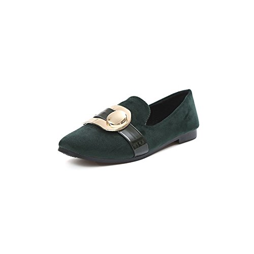 Green Work shoes Women's shoes flat Suede head Casual thin deduction Party Square BgOwaTq