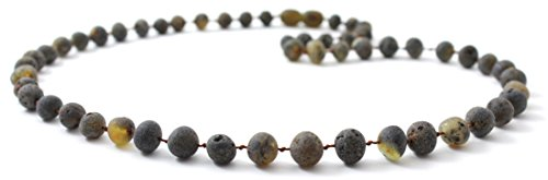 Unpolished Baltic Amber Necklace - Adult Size (Women and Men) - 19.5 inches (50 cm) - Green Color - Raw Baltic Amber Beads - BoutiqueAmber (Green, 19.5 (Long Baltic Amber Necklace)