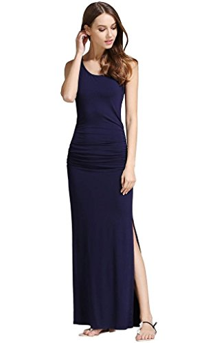Slit Dresses Women's Cotton Shirring Buenos Party Dress Beach Sides Casual Long Ninos Shirt Navy Maxi BZ00vFq
