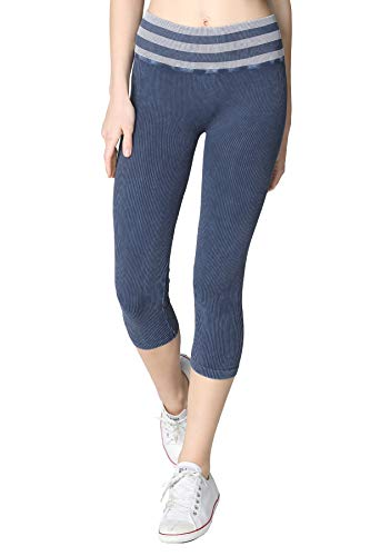 Nikibiki Women Seamless Vintage Striped Capri Leggings, One Size (Vintage Denim) ()