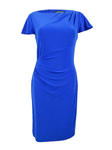 Lauren by Ralph Lauren Women's Flutter-Sleeve Dress (6, Blue Ocean)