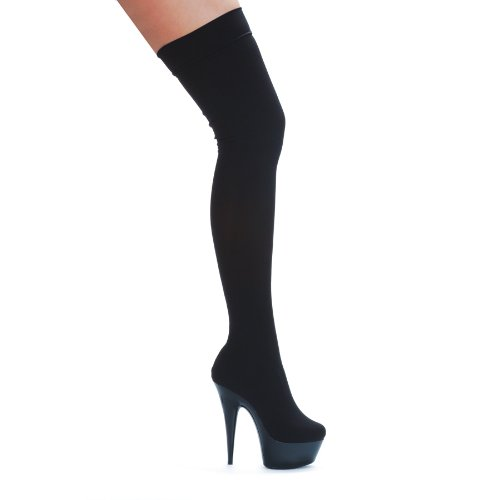 Ellie 609-ski 6 Points Stiletto Stretch Lycra Cuissardes, Noir, Taille 10