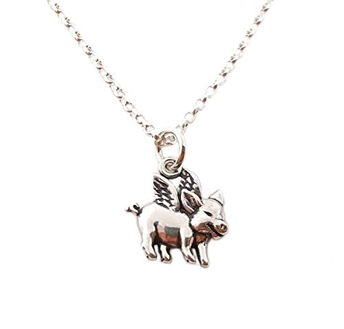 (Flying Pig Charm Sterling Silver Necklace)