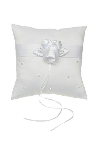 SAMKY Venus Jewelry Rosette Flower Pearls Studded Wedding Ring Bearer Pillow 7 Inch x 7 Inch - White RP005W