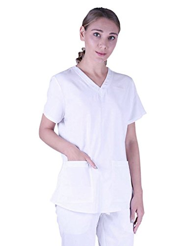 HDE Womens Scrub Top Medical Uniform V-Neck Shirt With Shirring Back (White, X-Large)
