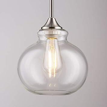 Ariella Casella Glass Pendant Light Brushed Nickel Hanging Light Fixture LL-P321
