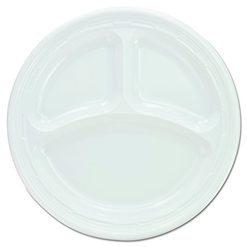 Dart 9CPWF Plastic Plates, 9 Inches, White, 3 Compartments, Round (Case of 500)