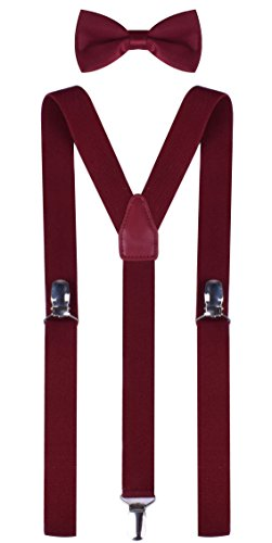 Price comparison product image Wine Colored Toddler Suspenders and Bowtie Set for Child Size 26 Inches (3 Years - 8 Years) Wine