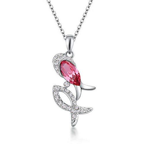 NEW Women Pink Crystal Rhinestone Cute Fish Silver Chain Pendant Necklace Hot пјЃпјЃ ()