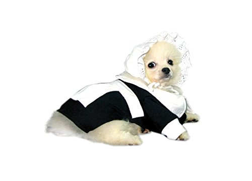 Pilgrim Deluxe Halloween/Thanksgiving Costume for Dogs by Puppe Love (Girl, Size 3 (10.75