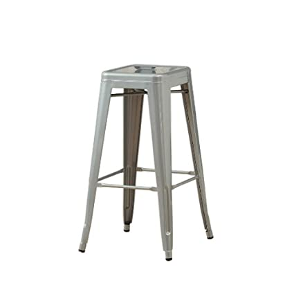Amazoncom Monarch Galvanized Metal 2 Piece Cafe Barstool 30 Inch