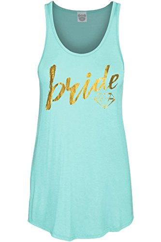 Bear Womens Fitted Tank Top - COLORBEAR Women's Bride W/Diamond Gold Foil Graphic Scoop Neck Tank Top