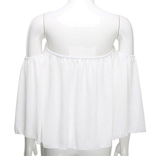 T Casual shirt Pull Femmes Amlaiworld Shoulder Off Blanc Blouse longues manches qSpnwx