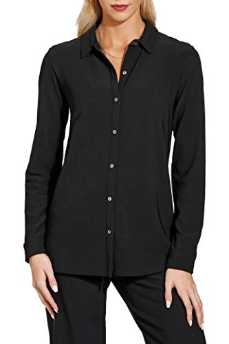 Boston Proper Solid Color Women's Wrinkle Resistant Collared Long Sleeve Button Down Knit Top Jet Black Large (Versatile Knit Top)