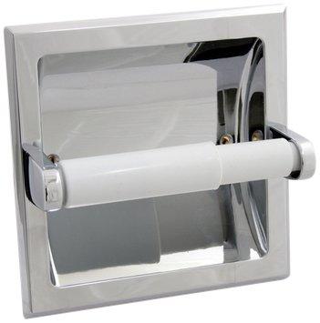 Taymor 01-SN101S Diamondback Series Recessed Toilet Paper Holder with Plastic Satin Nickel Roller, Satin Nickel