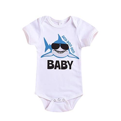 WOCACHI Infant Newborn Baby Girls Boys Cartoon Shark Print Romper Bodysuit Casual Clothes 2pcs 3pcs Footies Onesies Playsuits Tutu Princess Granddaughter Rash Guards Short Tee Sets