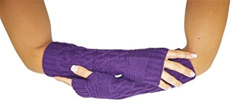 Purple Fingerless Gloves (Caribbean Touch Purple Knitted Fingerless Gloves for Women)