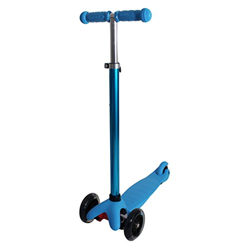 Rimable Kids 3 Wheel Adjustable Height Mini Kick Scooter with LED Light Up Wheels (Luxury Blue)