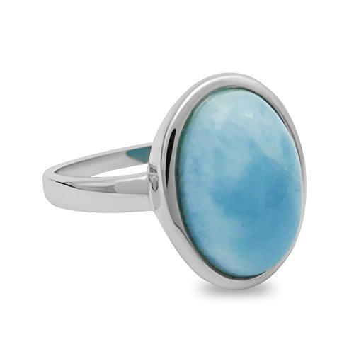 Light Blue Larimar Ring - 3.7 CT Oval Cabachon, 925 Sterling Silver (8)