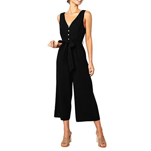 - UONQD Women Sleeveless Button Backless High Waisted Wide Playsuits Beach Jumpsuit Black