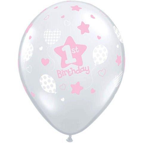 10 Pink Diamond Latex Balloons Girls 1st Birthday Party Supplies