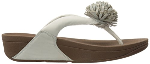 FitFlop Womens Flowerball Toe-Post Leather Sandals Urban White