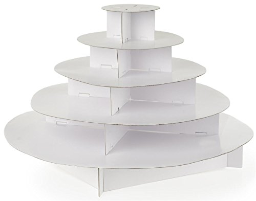 5-Tier Cupcake Stands for 300 Cupcakes, Round, Cardboard (White) - Set of 2 (Cupcake Stands For 150 Cupcakes compare prices)