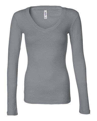 Sheer Long Tee Jersey Sleeve (Bella Womens Andrea Sheer Rib Long Sleeve V-Neck T-Shirt - Medium - GRANITE)
