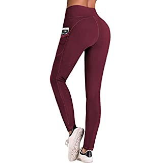 IUGA High Waist Yoga Pants with Pockets, Tummy Control, Workout Pants for Women 4 Way Stretch Yoga Leggings with Pockets (Maroon IU7840, Medium)