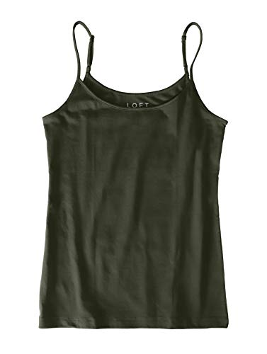 Ann Taylor LOFT Outlet Women's Cotton Stretch Camisole Tank (X-Small, Balsam Tree Green)