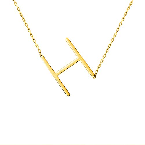 - WIGERLON Stainless Steel Initial Letters Necklace for Women and Girls Color Gold and Silver from A-Z Letter H Color Gold