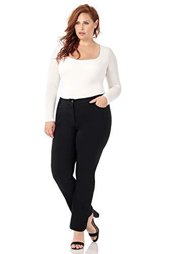 (Rekucci Curvy Woman 5 Pocket Straight Leg Plus Size Pant w/Zipper (24W,Black))