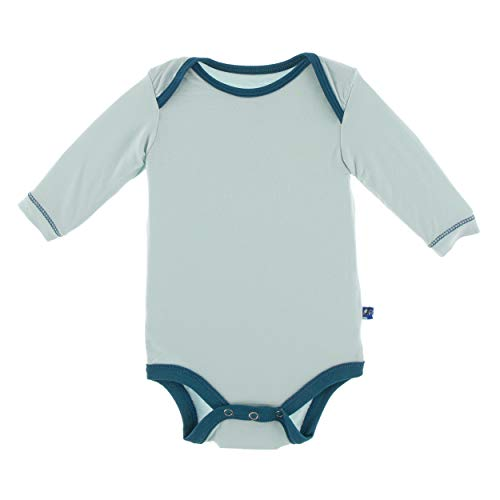 (Kickee Pants Little Boys Solid Long Sleeve One Piece - Spring Sky with Heritage Blue, 6-12 Months)