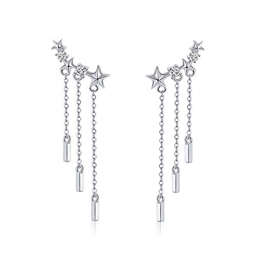 BAMOER 925 Sterling Silver Star Wrap Earrings Crawler Tassel Chain Earrings for Women Girls