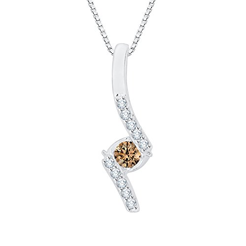 Sirena Diamond Necklace - Center Brown and White Diamond Fashion Pendant Necklace in 10K White Gold (1/10 cttw) (Color GH, Clarity I2-I3)