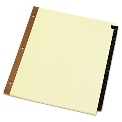 Leather-Look Mylar Tab Dividers, 25 Alphabet Tabs, Letter, Black/Gold, Set of 25, Sold as 25 Each
