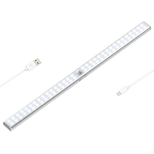 64 LED Motion Sensing Closet Lights, OxyLED USB Rechargeable Under Cabinet Lightening, Stick-on Cordless Motion Sensor Wardrobe Light Bar, Super Bright Closet Light with Magnetic Strip, T-02U Plus