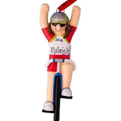 Bicycle Girl Personalized Ornament - (Unique Christmas Tree Ornament - Classic Decor for A Holiday Party - Custom Decorations for Family Kids Baby Military Sports Or Pets) (Ornament Holiday Bicycle)
