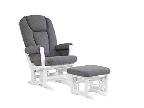 Dutailier Modern Glider with Multiposition, Recline and Ottoman Combo, White/Dark Grey by Dutailier (Image #1)