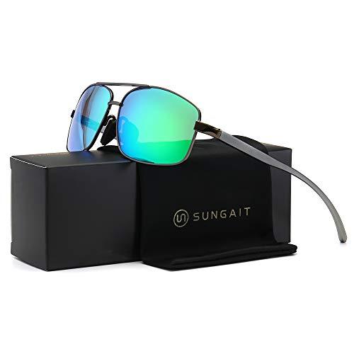 SUNGAIT Ultra Lightweight Rectangular Polarized Sunglasses 100% UV protection (Gunmetal Frame Green Mirror Lens, 62) Metal Frame 2458 QKLV