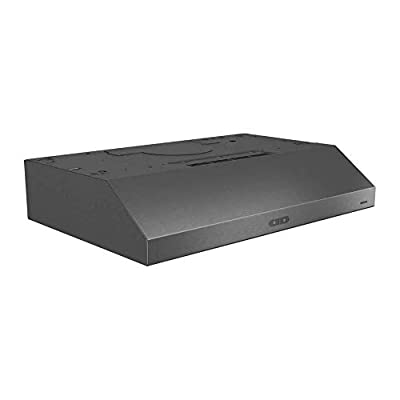 """Broan Glacier Convertible Range Hood, Exhaust Fan and Light Combo for Over Kitchen Stove, Black Stainless Steel, 30"""", 1.2 Sones, 300 CFM"""