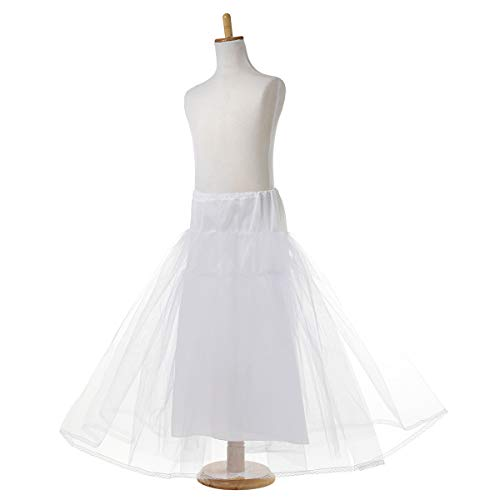 (AW Girls Hoopless Petticoat Kids Tutu Skirt Dress Soft White Crinoline Underskirt, L)