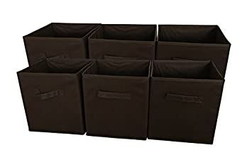 Sodynee Foldable Cloth Storage Cube Basket Bins Organizer Containers Drawers, 6 Pack, Chocolate by Sodynee