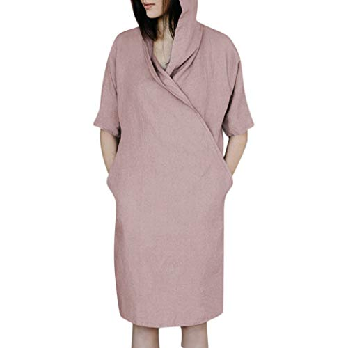 Women's Casual Cotton Hooded Dresses, AmyDong Solid 1/2 Sleeved Linen Hoodie Loose Tunic Dress with Pockets Pink