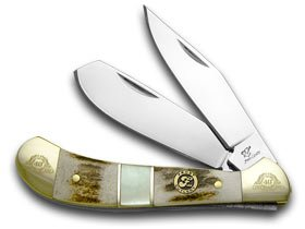 FROST FAMILY 40th Anniversary Deer Stag and Mother Of Pearl 1/600 Saddlehorn Pocket Knife Knives