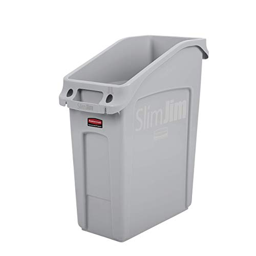 Rubbermaid Commercial Products 2026695 Slim Jim Under-Counter Trash Can with Venting Channels, 13 Gallon, Gray (Renewed)